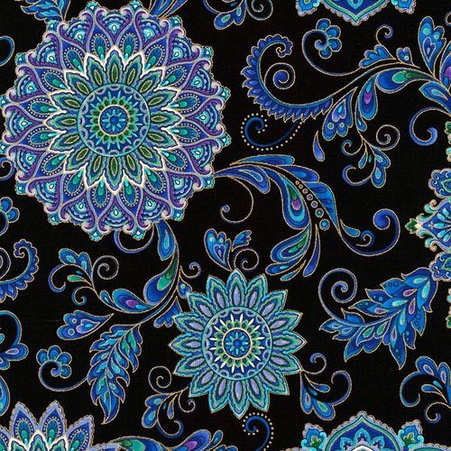 Timeless Treasures Regency Metallic Floral Mandala Black 100% Cotton (TT Regency Mandala)