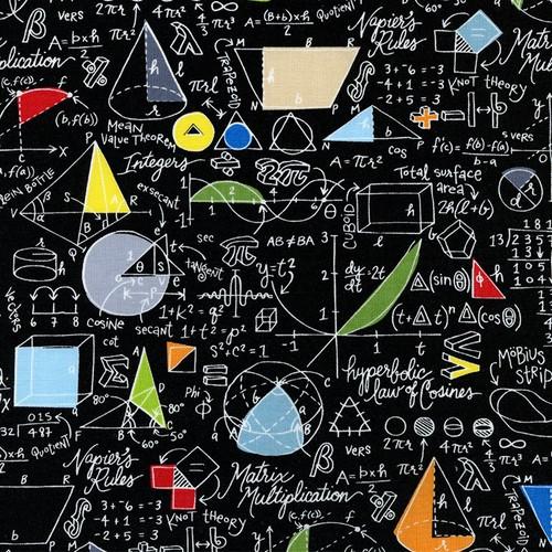 Timeless Treasures Math & Science Mathematics Workings Black 100% Cotton (TT Maths)