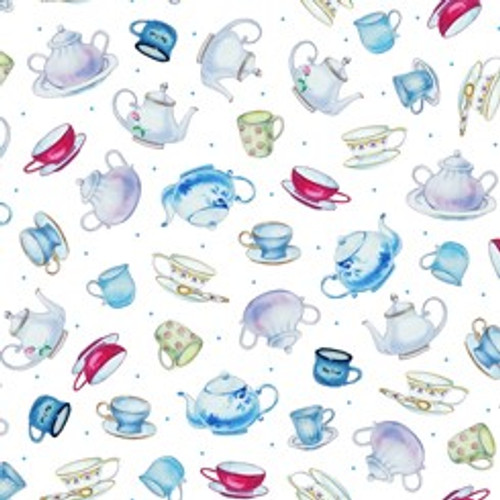 Quilting Treasures This & That III Teapots & Cups White 100% Cotton (QT Teapots White)