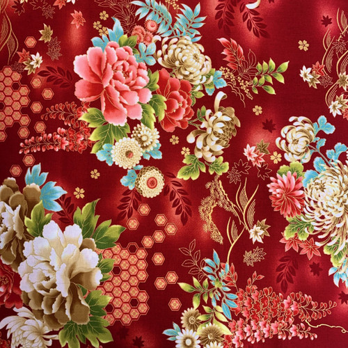 Nutex Metallic Japanese Floral Red 100% Cotton (Japanese Kujo Red)