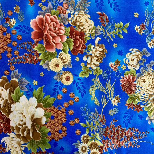Nutex Metallic Japanese Floral Blue 100% Cotton (Japanese Kujo Blue)