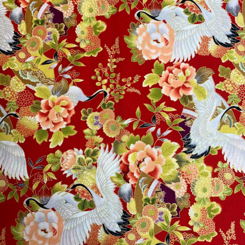 Nutex Tokiwa Metallic Japanese Floral Cranes Red 100% Cotton (Japanese Tokiwa Red)