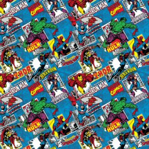Marvel Comics Burst Cartoon Blue 100% Cotton (Marvel Comics 8)