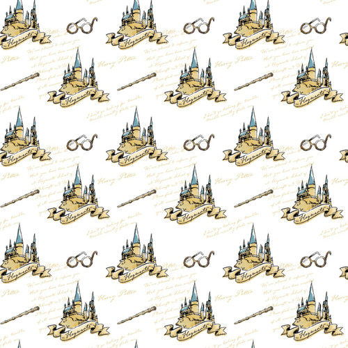 Harry Potter Hogwarts Cartoon White 100% Cotton (Harry Potter 21)