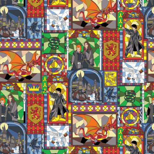 Harry Potter Stained Glass Window Multi Coloured 100% Cotton (Harry Potter 22)