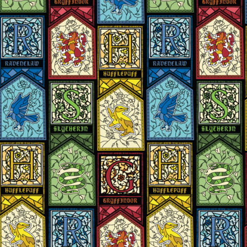 Harry Potter Hogwarts Houses Stained Glass Windows Multi Coloured 100% Cotton (Harry Potter 24)