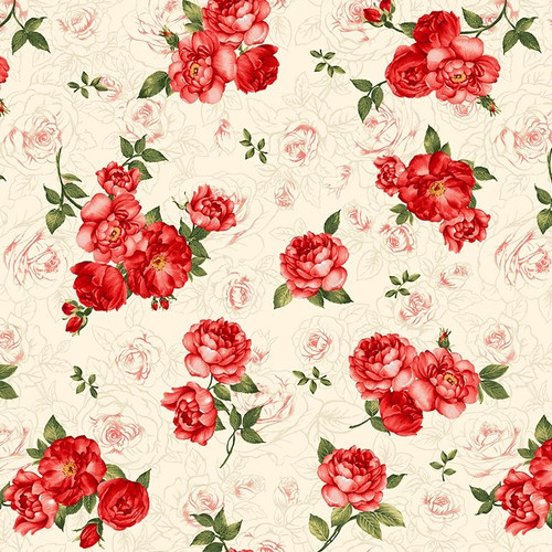 Timeless Treasures Garden Rose Small Rose Bouquets Cream 100% Cotton Remnant (63 x 112cm TT Garden Roses Bouquets Cream)