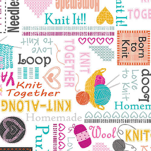 Kanvas Studio Knit Together Sewing Words White 100% Cotton Remnant (34 x 112cm KS Knit Together Words White)