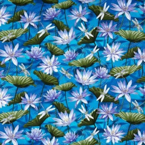 Kanvas Studio Dragonfly Dance Waterlily Cobalt Blue 100% Cotton Remnant (67 x 112cm KS Dragonfly Dance 21)