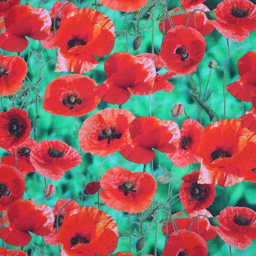 Digital Red Poppies On Apple Green Leaves 100% Cotton (Poppy Field)