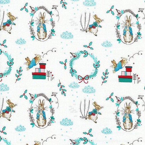 Frederick Warne & Co Christmas Peter Rabbit Presents & Wreaths White 100% Cotton Remnant (56 x 110cm Peter Rabbit 16)