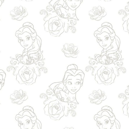 Disney Beauty & The Beast Grey Bold As A Rose White 100% Cotton Remnant (70 x 110cm Beauty & The Beast 9)