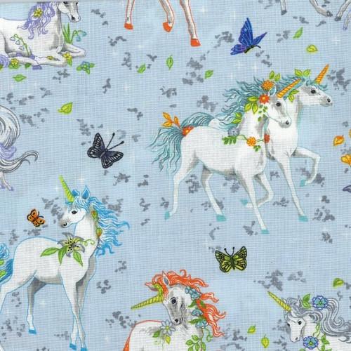 Unicorn & Butterfly Blue Grey 100% Cotton Remnant (72 x 112cm Wild Unicorns - Blue)