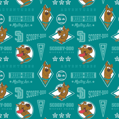 Warner Brothers Scooby Doo II Mystery Inc Teal 100% Cotton (Scooby Doo 11)