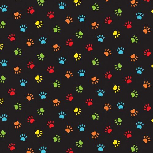 Nutex Happy Paws Pet Prints Multicoloured Black 100% Cotton (Happy Paws)