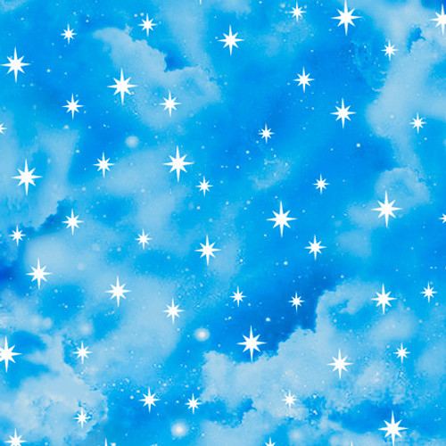 Quilting Treasures In The Beginning Starry Sky Blue 100% Cotton (QT In The Beginning 1)
