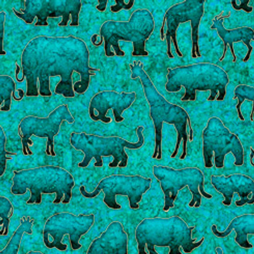Quilting Treasures Serengeti Animal Silhouettes Turquoise 100% Cotton (QT Serengeti 1)