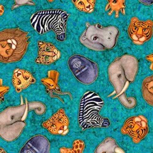 Quilting Treasures Serengeti Tossed Animals Heads Turquoise 100% Cotton (QT Serengeti 6)