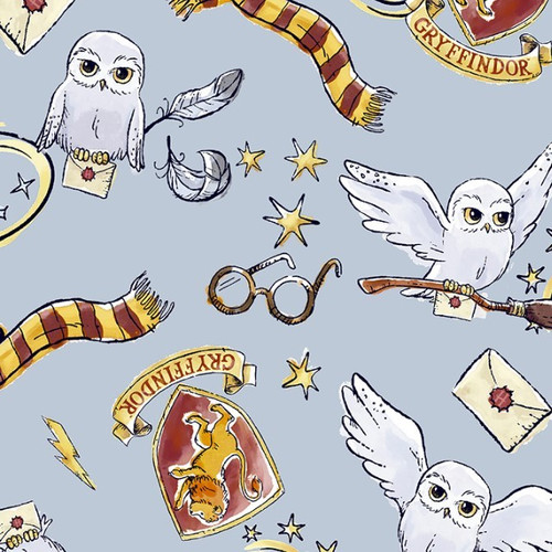 Harry Potter Digital Hedwig Griffindor Grey 100% Cotton (Harry Potter 26)