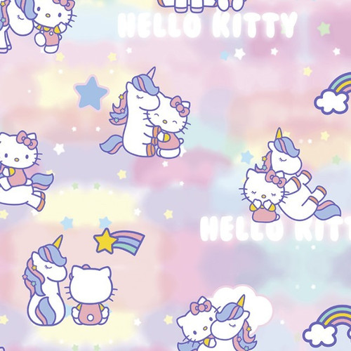 Digital Hello Kitty Unicorn Stars & Rainbows Pink 100% Cotton (Hello Kitty 1)