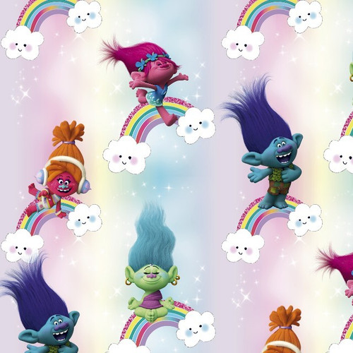 Digital Trolls Movie Characters Princess Poppy Rainbows Blue Pink 100% Cotton (Trolls)