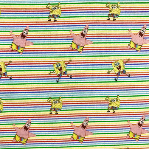 Digital SpongeBob SquarePants & Patrick Multicoloured Stripes 100% Cotton (SpongeBob)