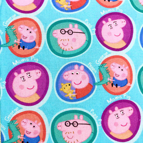 Digital Peppa Pig Mama Pig Papa Pig & George Blue 100% Cotton (Peppa Pig 2)