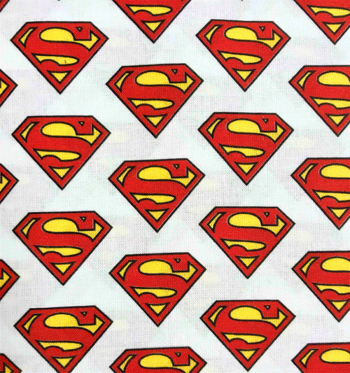 Digital DC Superman Logo White 100% Cotton (Superman 5)