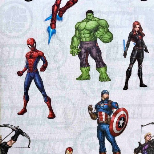 Digital Marvel Comics The Avengers Captain America Hulk Black Widow Iron Man Hawk Spiderman 100% Cotton (Avengers)
