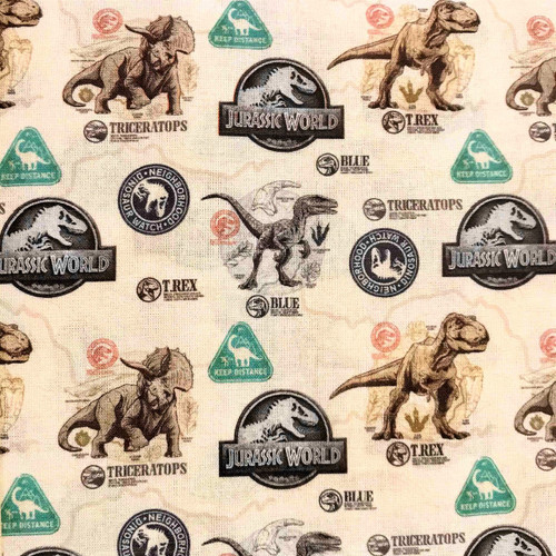 Digital Jurassic World Logo Dinosaurs Beige 100% Cotton (Jurassic Park 1)