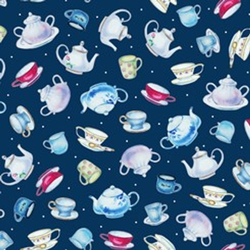 Quilting Treasures This & That III Teapots & Cups Navy 100% Cotton Remnant (49 x 110cm QT Teapots Navy)