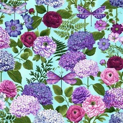 Henry Glass & Co. Dragonfly Garden Hydrangea Bouquets Blue 100% Cotton Remnant (50 x 55cm HG Dragonfly Garden 1)