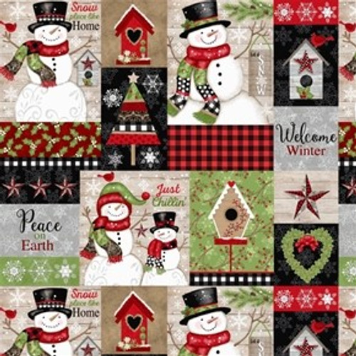 Studio E's Snow Place Like Home Christmas Snowmen Patches Wood Beige 100% Cotton Remnant  (68 x 112cm SE Snow Place Like Home 1)