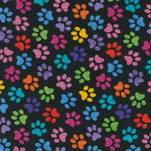Timeless Treasures Crazy For Cats Multicoloured Paw Prints Black 100% Cotton (TT Cat Paws)