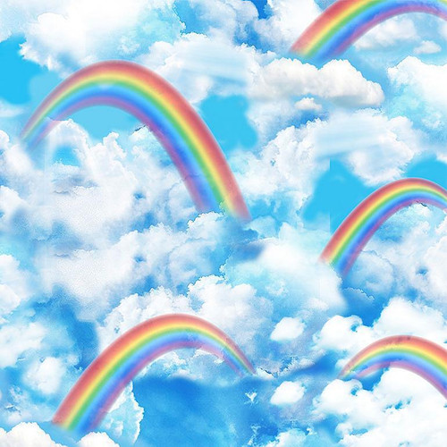 Timeless Treasures Over The Rainbow & Clouds Blue 100% Cotton (TT Bright Over The Rainbow)