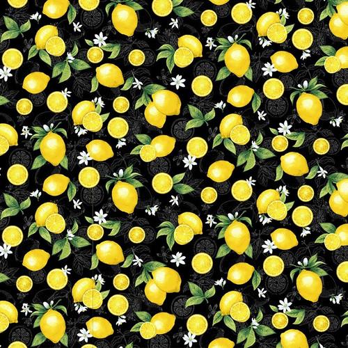 Timeless Treasures Splash Of Lemon Small Etched Lemons Black 100% Cotton (TT Small Etched Lemons 2)