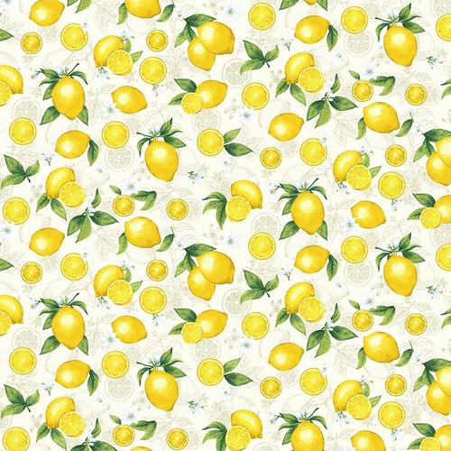 Timeless Treasures Splash Of Lemon Small Etched Lemons Cream 100% Cotton (TT Small Etched Lemons 3)