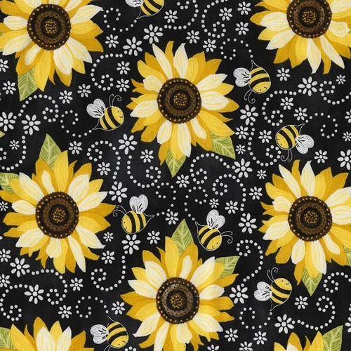 Timeless Treasures Hello Sunshine Sunflower & Bee Chalkboard Black 100% Cotton (TT Sunflower & Bee Chalkboard)
