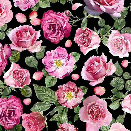 Timeless Treasures Paris Atelier Pink Roses Black 100% Cotton (TT Paris Atelier Roses)