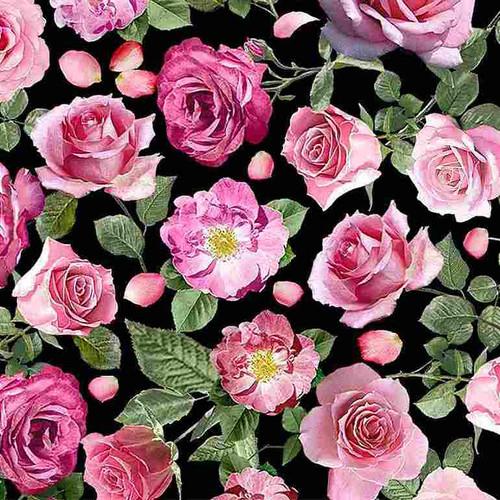 Timeless Treasures Paris Atelier Pink Roses Black 100% Cotton (TT Paris Atelier Roses)