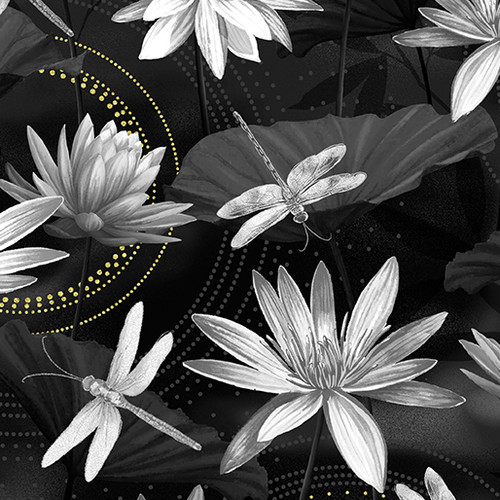 Kanvas Studio Dragonfly Dance Waterlily Black-Grey 100% Cotton Remnant (25 x 112cm KS Studio Dragonfly Dance Waterlily Black-Grey)