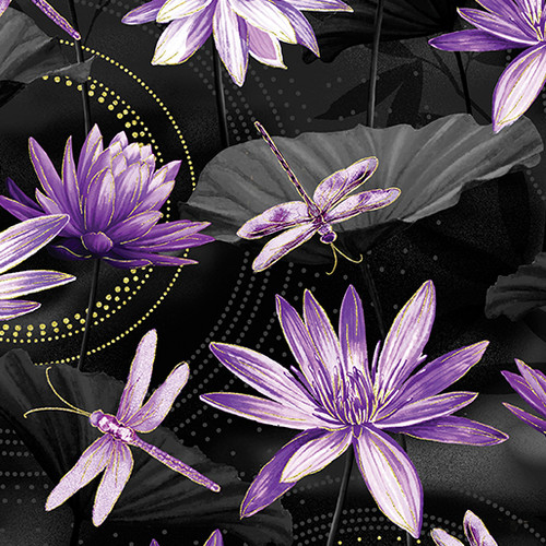 Kanvas Studio Dragonfly Dance Waterlily Black-Purple 100% Cotton Remnant (64 x 112cm KS Studio Dragonfly Dance Waterlily Black-Purple)