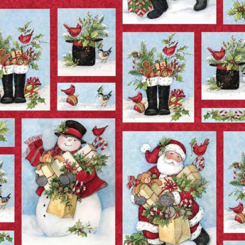 Springs Creative Holiday Patchwork Snow Father Christmas 100% Cotton Remnant (26 x 112cm SC Christmas Patch)