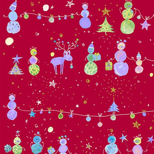 Quilting Treasures Holiday Minis Fairy Lights Snowmen Reindeer Red 100% Cotton Remnant (37 x 112cm QT Snowmen Red)