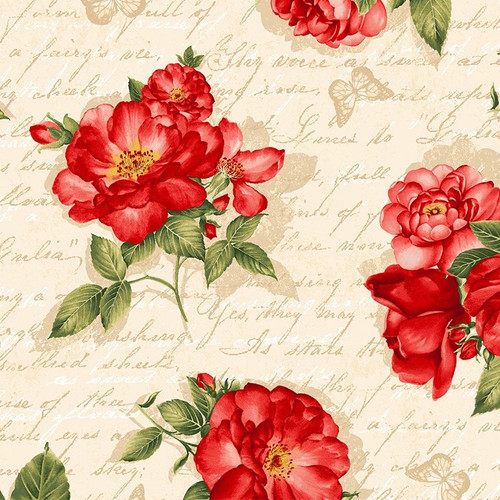 Timeless Treasures Garden Rose Roses with Script Cream 100% Cotton Remnant (39 x 112cm TT Garden Roses Text Cream)