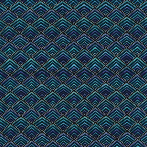 Timeless Treasures Royal Plume Metallic Diamond Geo Black Blue 100% Cotton (TT Diamond Geo)