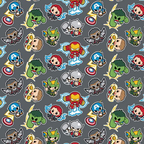 Disney Marvel Avengers Assemble Kawaii Superheroes Grey 100% Cotton (Avengers 2)