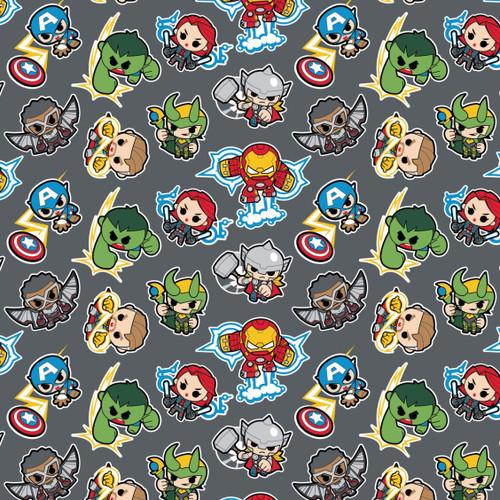 Disney Marvel Avengers Assemble Kawaii Superheroes Grey 100% Cotton (Avengers 2)