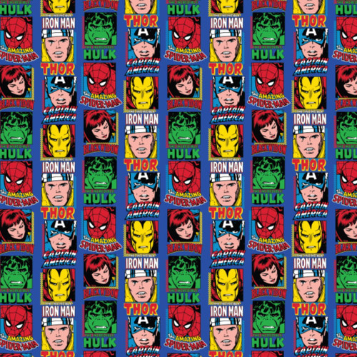 Disney Marvel Comics Superheroes Classic Avengers Blue 100% Cotton (Avengers 3)