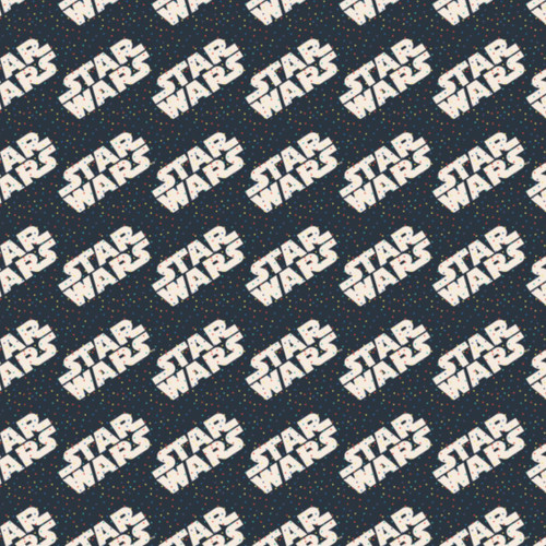 Disney Star Wars Dotty Words Navy 100% Cotton (Star Wars 22)